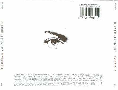 Michael Jackson Invincible Back