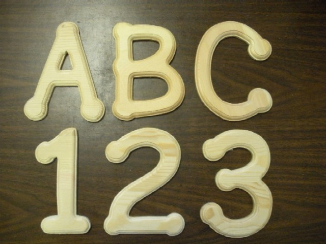 wooden letters numbers