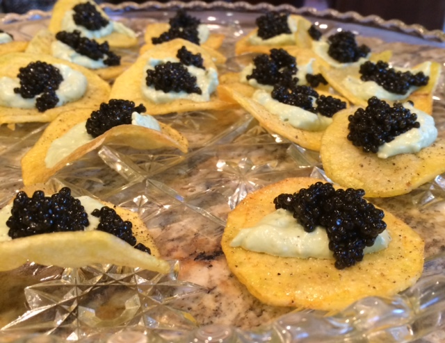 caviar and potato chips