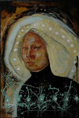 Dama de las estrellas 2015. Óleo sobre madera. 122 x 80 cm