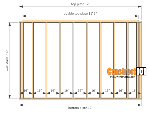 small resolution of 12x12 shed plans gable front and back wall frame