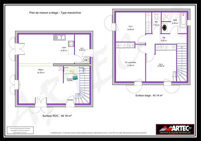 Plan de maison tage maison r1 100m avec tage ou combles am nag s pictures to pin on pinterest for Ma maison en 3d gratuit