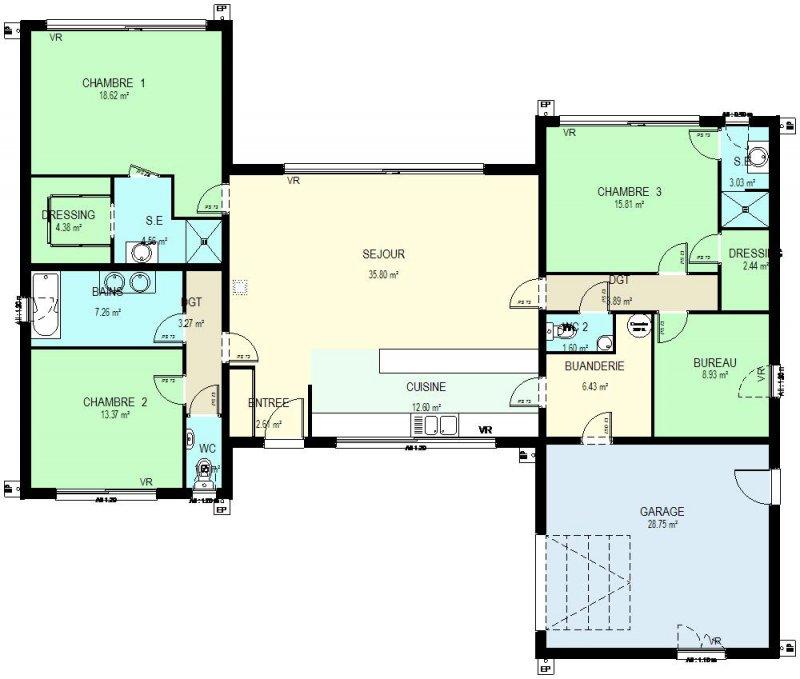 Plan maison 5 chambres plain pied gratuit delightful plan de maison 5 chambr - 4 pieds plan de campagne ...