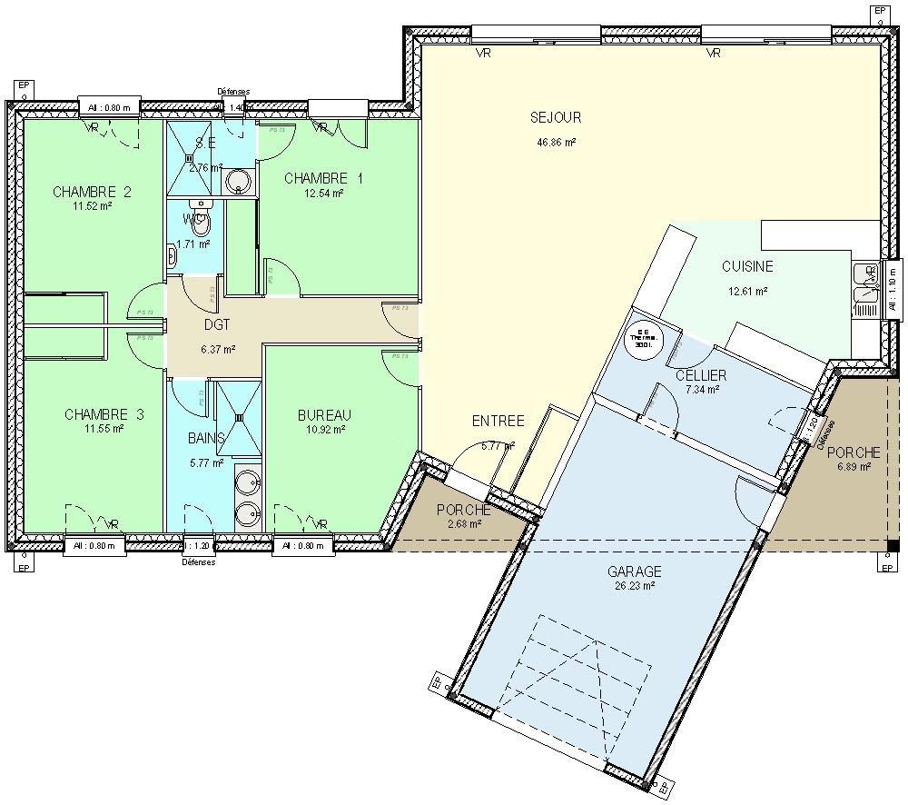 Les meilleurs plans de maison dtail du plan de maison w v for Meilleur plan de maison