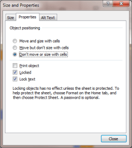 Size and Properties window - Click on Properties tab