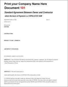 Standard Agreement Between Owner and Contractor Template