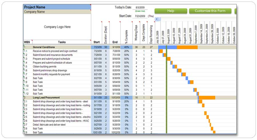 Residential Construction Schedule in Excel (5-day, 7-day ...