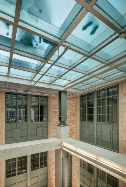 Firerated glass floor captures the light at Northwestern