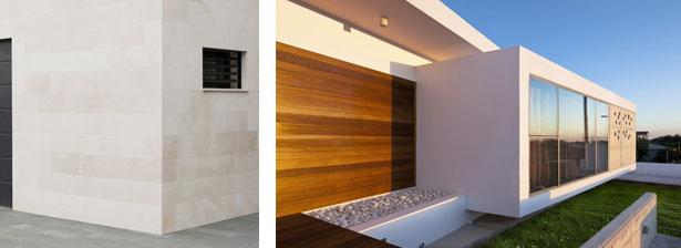 Revestimiento exterior piedras naturales porosas, permiten la transpiración de los muros Acabados Lujo