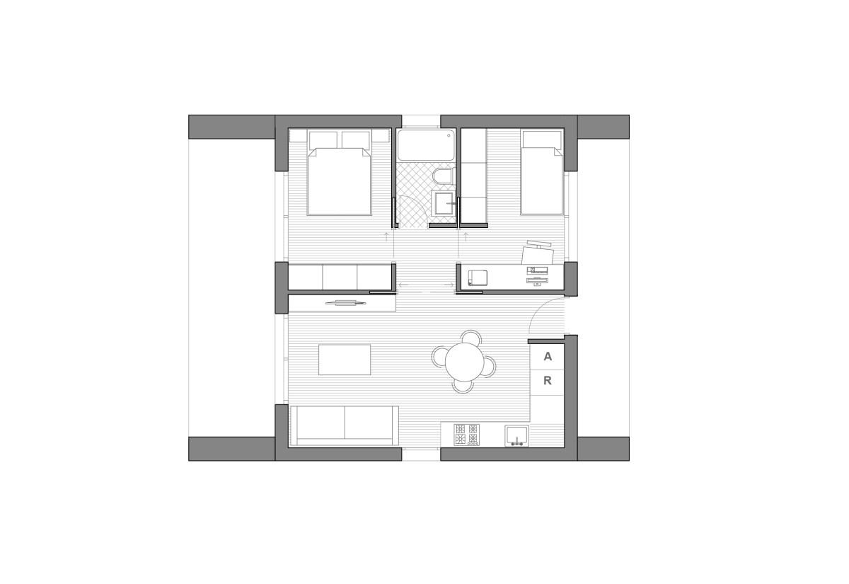 Planta dibujada de Modelo de casa prefabricada Besalu Planta