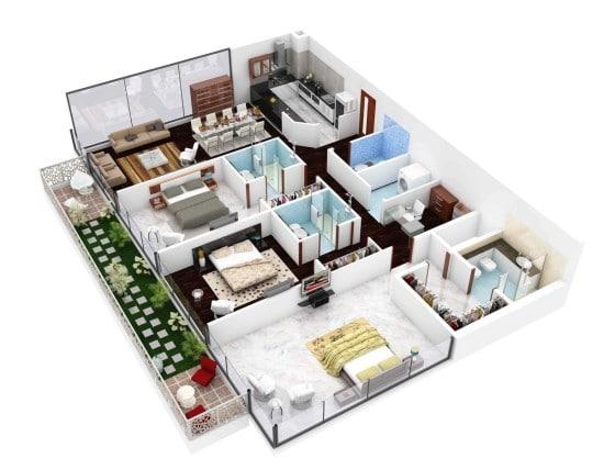 Planos de departamentos de 3 habitaciones  Construye Hogar