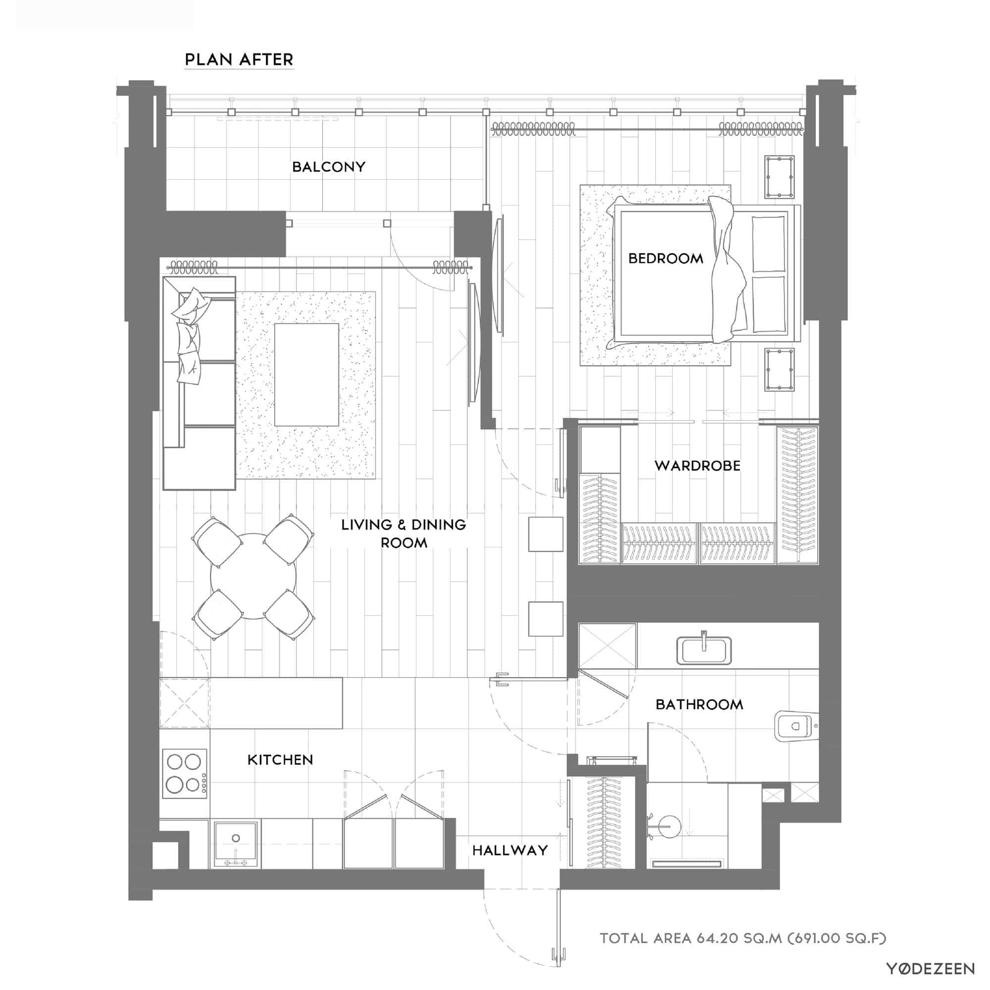 Plano de departamento pequeño un dormitorio