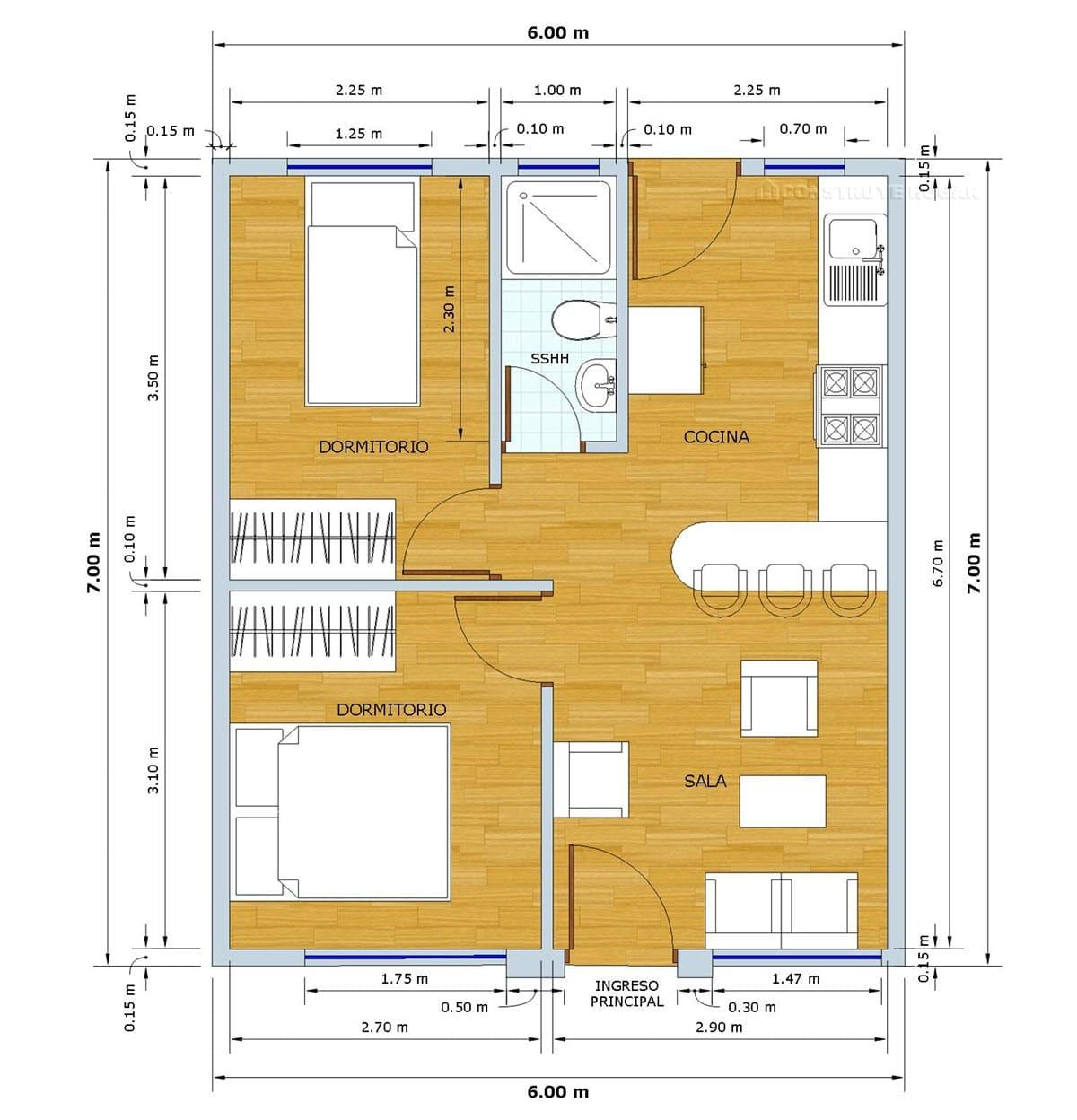 Plano de casa pequeña 42 metros cuadrados