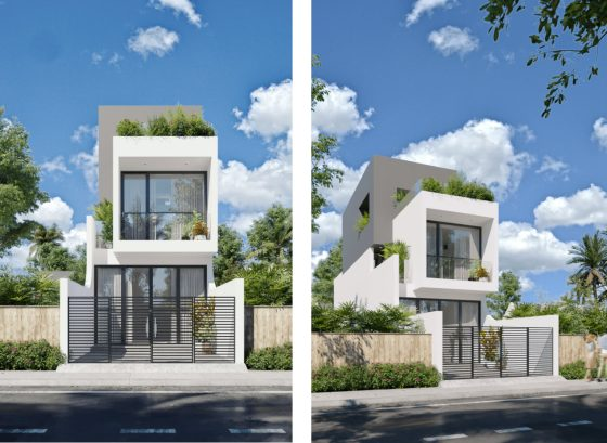 Dar alanlar için güzel 2 katlı ev cephe tasarımı