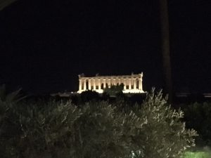 View of Temple of Concordia from Villa Athena Restaurant, Agrigento, Sicily