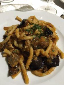Caserecci with swordfish tomato eggplant and mint La Terraza Scopella Sicily