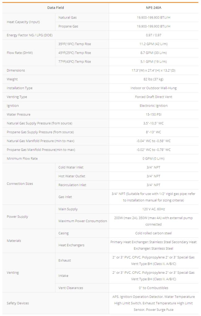 Navien NPE-240A Water Heater Specifications