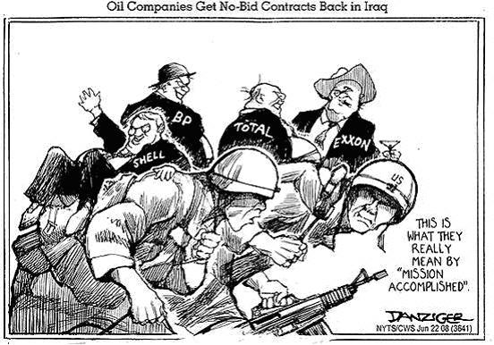 Iraq war profiteers in the US, cartoon