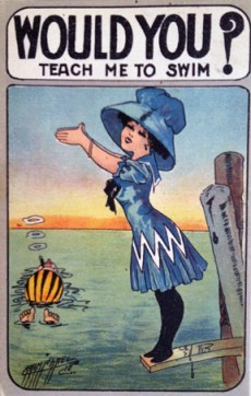 Postcard promoting swimming for girls and women, circa 1905. Personal collection.