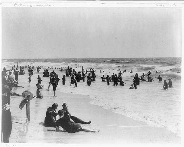 42180344fbcf3 Men and women swimming in the surf at Rockaway Beach, NY, 1900. Photo