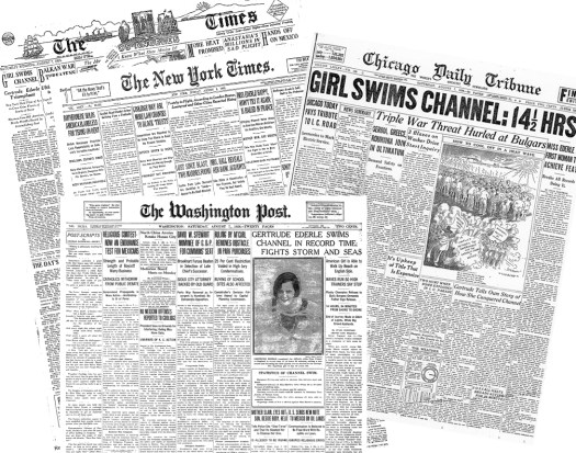 Front pages of the LA Times, NYT, Chicago Daily Tribune, and Washington Post covering Ederle's record-breaking swim.
