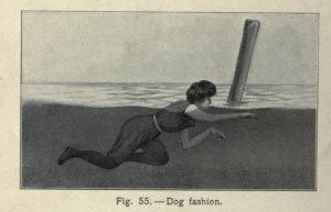 "Instructional image from chapter, ""Swimming,"" in Hill's book, Athletics and Out-door Sports for Women, 1903."