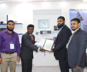 Water Expo 2016 Organizers handing over Certificate of Participation to our MD