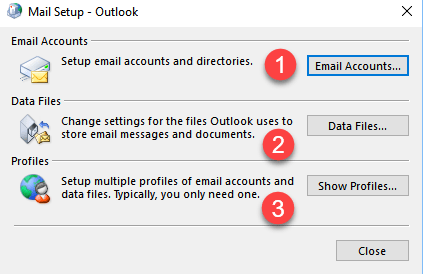 how to change outlook profile