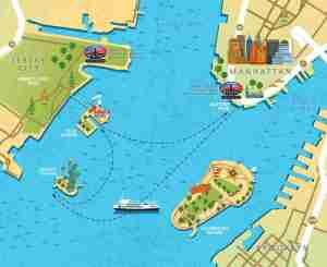 """Esquema del recorrido de los ferrys, Fuente """"Statue Cruises"""""""