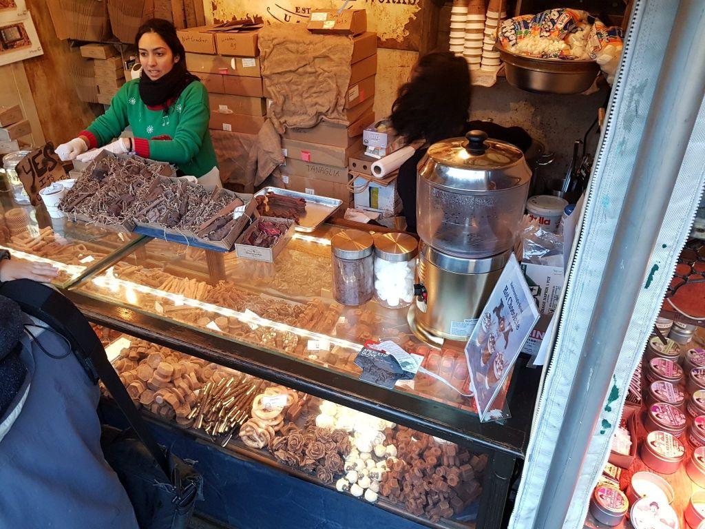 hot chocolate en Bryant Park