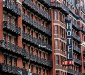 Fachada del Hotel Chelsea en Nueva York