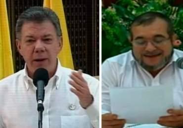 """Discurso histórico Juan Manuel Santos y Timoleón Jímenez """"Timochenko"""""""