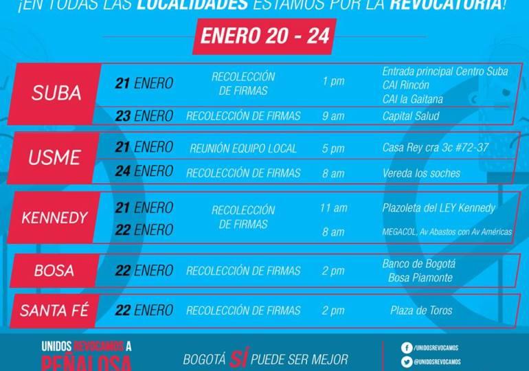 Listo cronograma para recolectar firmas de la revocatoria a Peñalosa