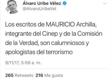 Duro rechazo de docentes y estudiantes a señalamiento de Uribe contra profesor Archila