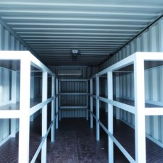 Container with storage shelves