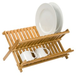 Kitchen Drying Rack Best Quality Faucets Dish Folding Bamboo The Container Store