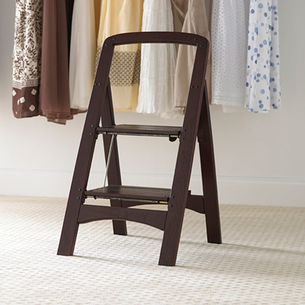 Walnut 2Step Wooden Folding Stool  The Container Store