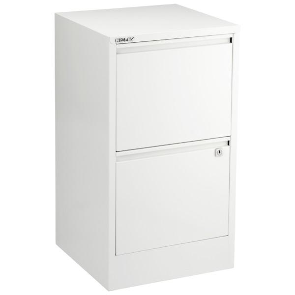 Bisley White 2  3Drawer Locking Filing Cabinets  The