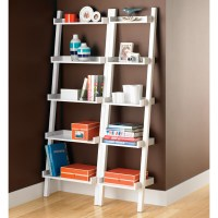 White Linea Narrow Leaning Bookcase | The Container Store