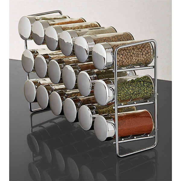 kitchen spice rack best quality faucets polder chrome 18 bottle the container store