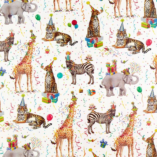 wild birthday animals wrapping
