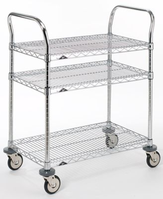 kitchen serving cart drop in stainless steel sinks metro commercial industrial 3 shelf the container store