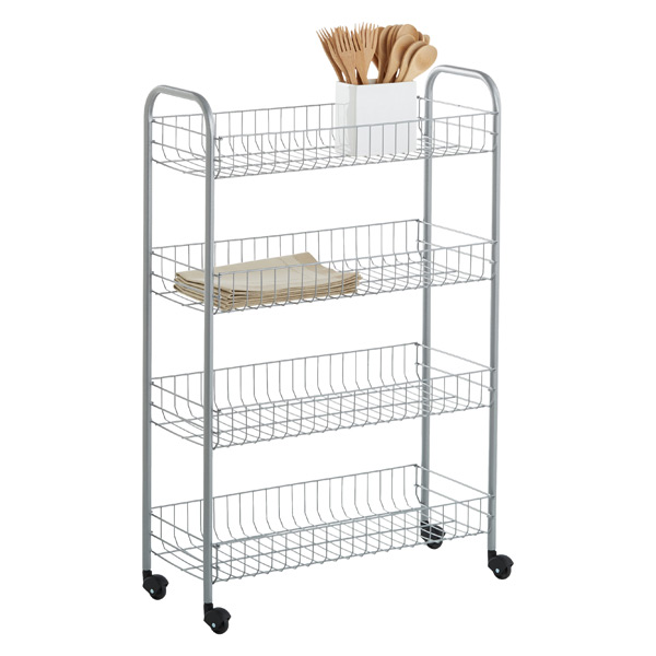 rolling kitchen carts commercial floor tile cart silver 4 tier slim the container store