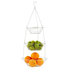 Fruit Basket For Kitchen Boos Islands Chrome 3 Tier Hanging The Container Store