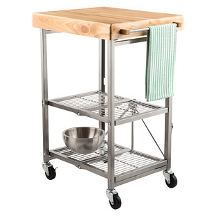 rolling kitchen carts round glass table cart origami the container store