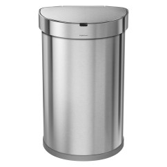 Simplehuman Kitchen Trash Can Concrete Island Stainless Steel 12 Gal Semi Round Sensor