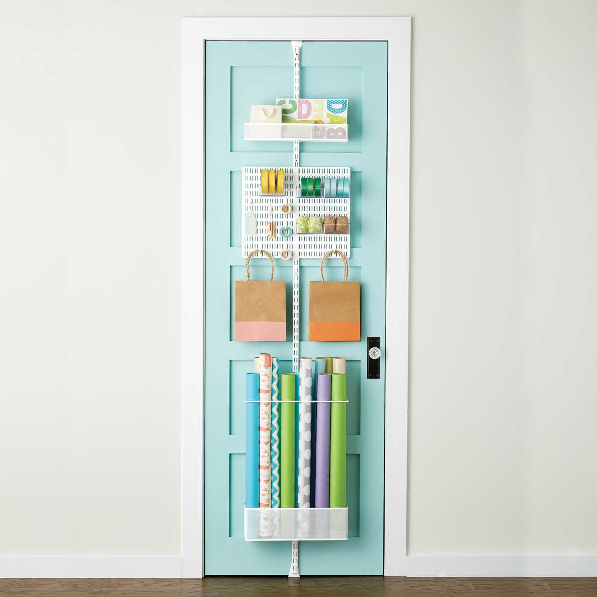 Best Kitchen Gallery: White Elfa Utility Gift Wrap Door Wall Rack The Container Store of Container Store Home  on rachelxblog.com