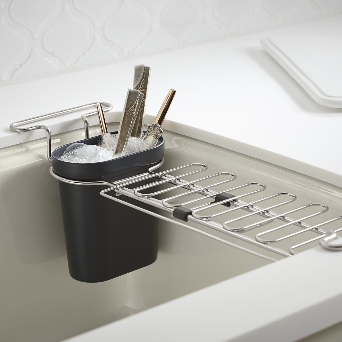 kitchen sink racks cutting board kohler chrome utility rack the container store