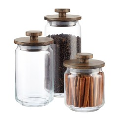 Canisters Kitchen Ninja System Pulse Bl201 Artisan Glass With Walnut Lids The Container Store