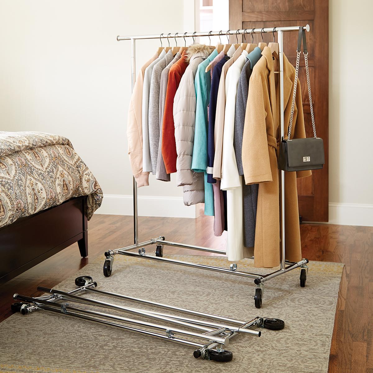 chrome metal folding commercial clothes rack